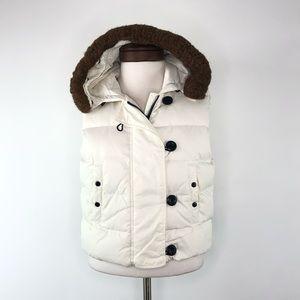 Gap Puffer Vest Down Jacket Faux Fur Hood